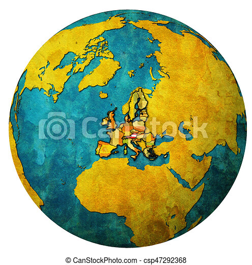 austria territory with flag over globe map - csp47292368