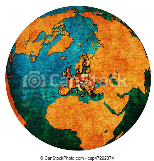 austria territory with flag over globe map - csp47292374