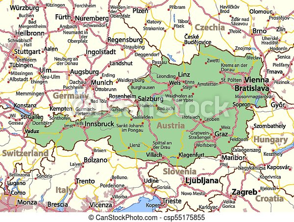 map of austria and surrounding countries Austria World Countries Vector Map A Map Of Austria Shows Country Borders Urban Areas Place Names And Roads Labels In map of austria and surrounding countries