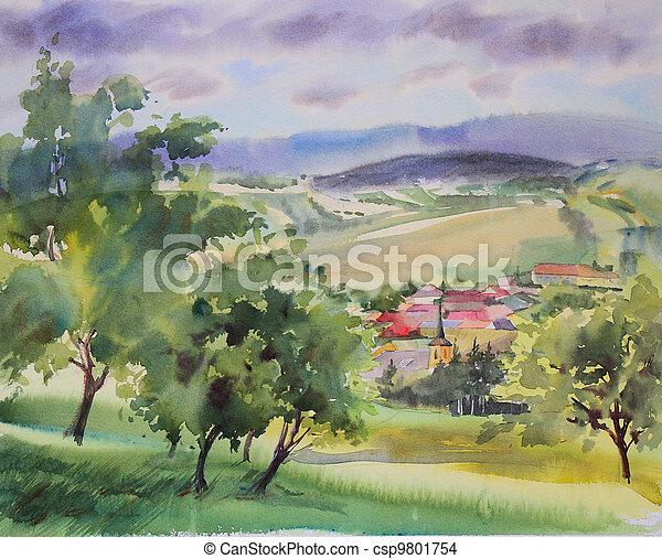 Austrian landscape painted by watercolor - csp9801754