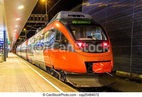 Austrian local train at Feldkirch station - csp25484072