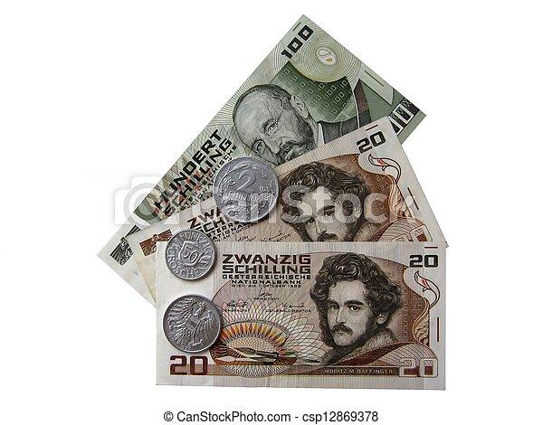 Austrian money end of the 20th cen - csp12869378