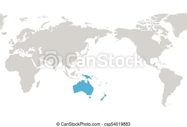 Austtralia and oceania continent blue marked in grey vector austtralia and oceania continent blue marked in grey silhouette of world map simple flat vector gumiabroncs Choice Image
