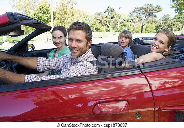 autó, átváltható, mosolygós, család - csp1873637