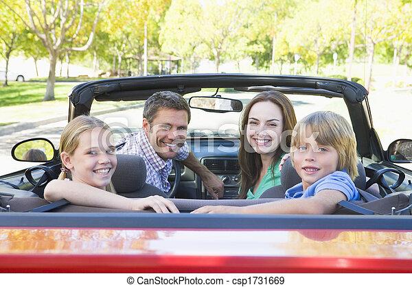autó, átváltható, mosolygós, család - csp1731669