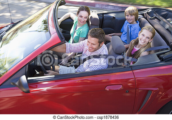 autó, átváltható, mosolygós, család - csp1878436