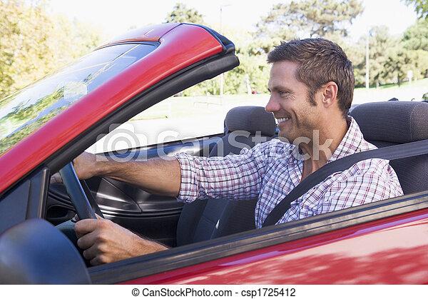 autó, átváltható, mosolygós, vezetés, ember - csp1725412
