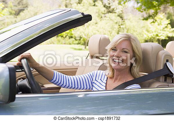 autó, átváltható, woman mosolyog - csp1891732