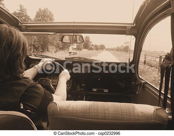 autó, öreg, vezetés - csp0232996