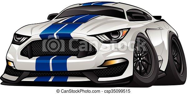 autó, amerikai, modern, karikatúra, izom - csp35099515