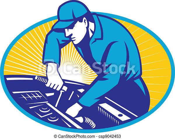 autó, autó, retro, szerelő, rendbehozás - csp9042453