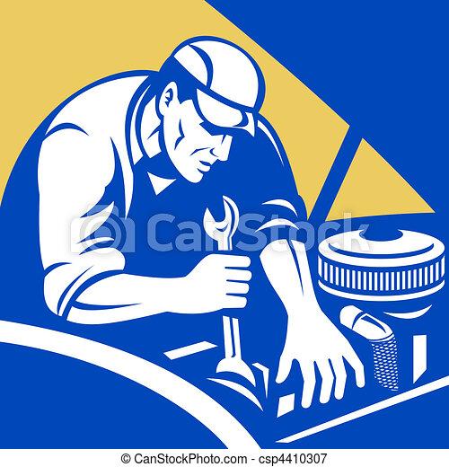autó, autószerelő, rendbehozás - csp4410307