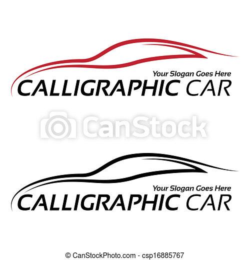 autó, calligraphic, jel - csp16885767