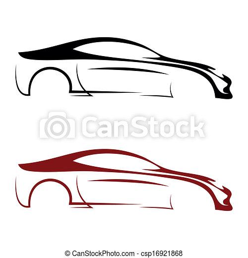autó, calligraphic, jel - csp16921868