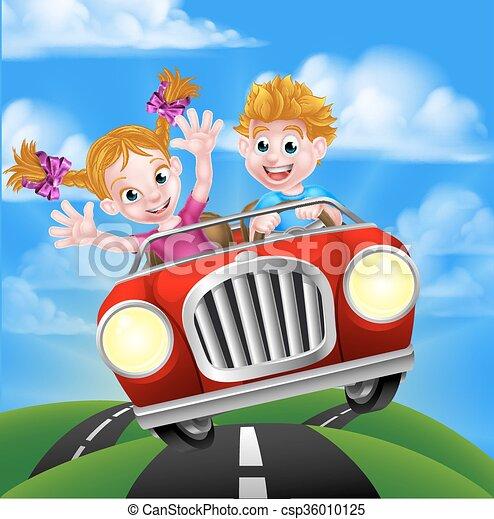 autó, gyerekek, karikatúra, vezetés - csp36010125