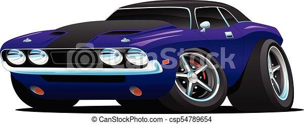 autó, izom, karikatúra, ábra, klasszikus - csp54789654