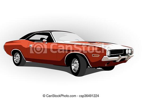 autó, izom, piros, klasszikus - csp36491224