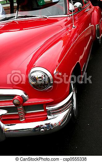 autó, piros, klasszikus - csp0555338