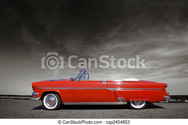 autó, piros, klasszikus - csp2454853