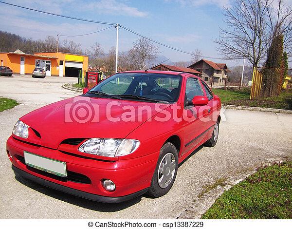 autó, piros - csp13387229