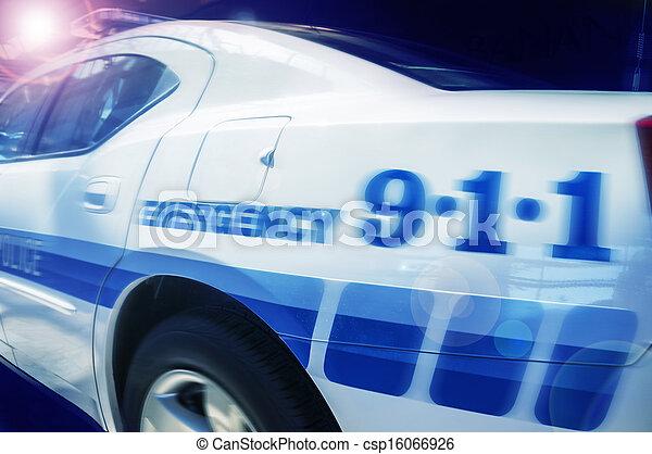 autó, rendőrség, válasz, szükséghelyzet - csp16066926