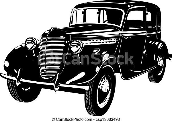 autó, retro - csp13683493