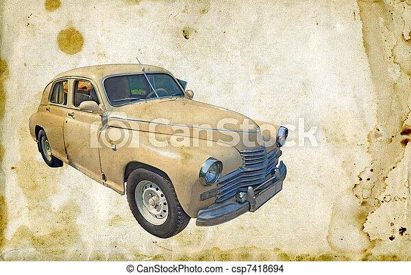 autó, retro - csp7418694