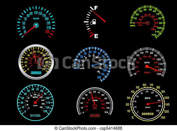 autó, sebességmérő - csp5414688