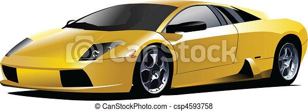 autó, sport, road., sárga, vec - csp4593758