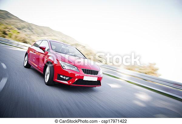 autó, tele, előrehajol, út, veszélyes - csp17971422