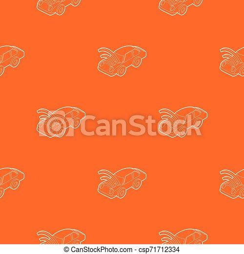 autó, wifi, aláír, vektor, motívum, narancs - csp71712334