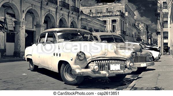 autók, havanna, öreg, b&w, panoráma - csp2613851