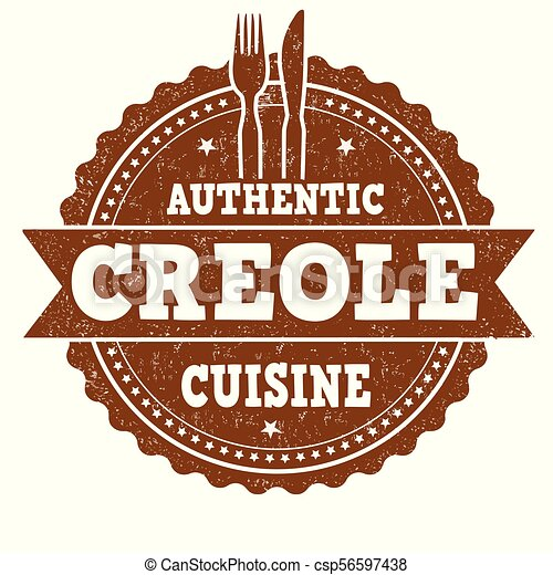 Authentic creole cuisine grunge rubber stamp - csp56597438