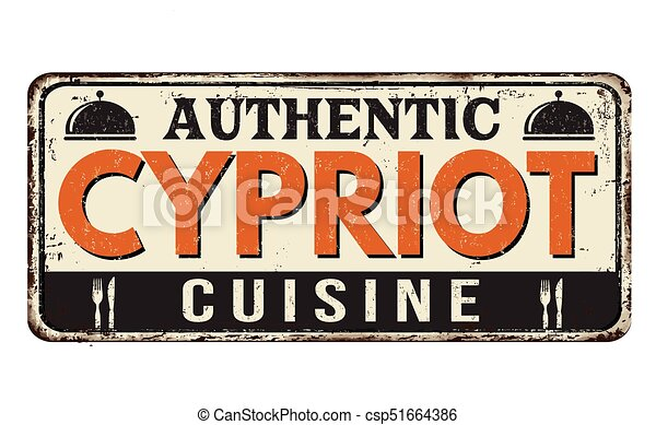Authentic Cypriot cuisine vintage rusty metal sign