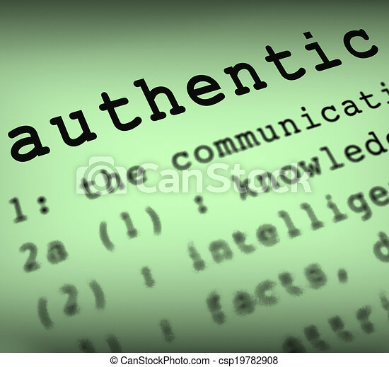 Authentic Definition Showing Authenticity Guaranteed Original Or Genuine Products - csp19782908