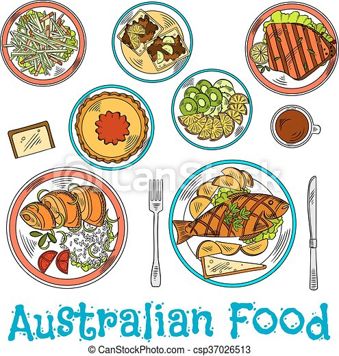 Authentic dishes of australian cuisine sketch authentic for Authentic australian cuisine