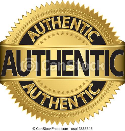 Authentic golden label, vector illu - csp13865546