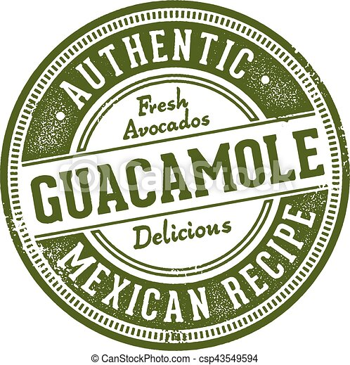 Authentic Guacamole Mexican Restaurant Stamp - csp43549594