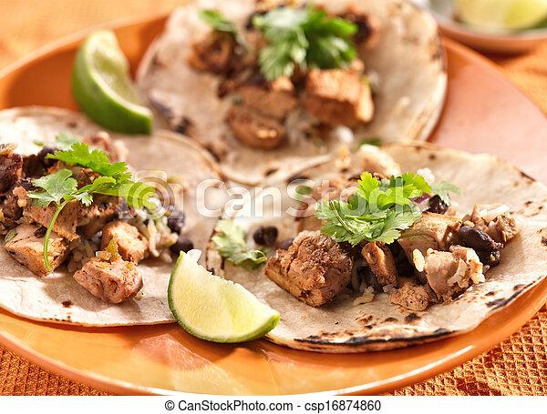 authentic mexican tacos in soft corn tortilla - csp16874860