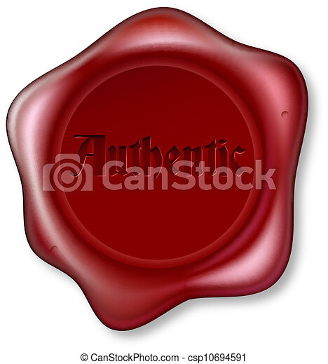 Authentic red wax seal illustration - csp10694591
