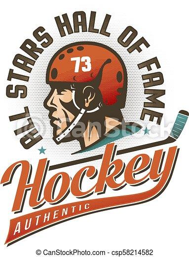 Authentic vintage hockey logo - csp58214582