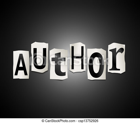 Author concept. Illustration depicting cut out letters arranged to form the  word author.