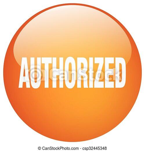 authorized orange round gel isolated push button - csp32445348