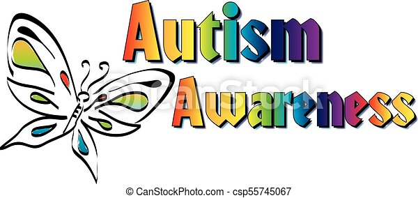 colorful butterfly and rainbow autism awareness banner rh canstockphoto com autism clipart images autism clip art designs