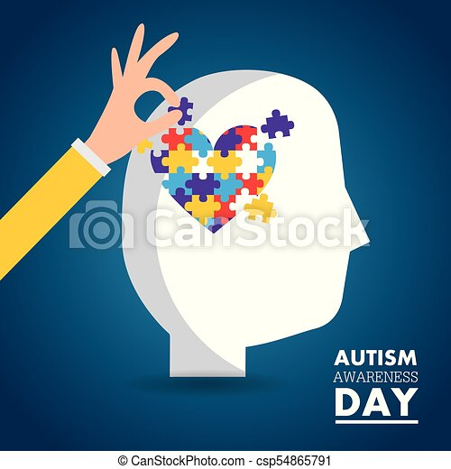 autism awareness day card health medical invitation - csp54865791