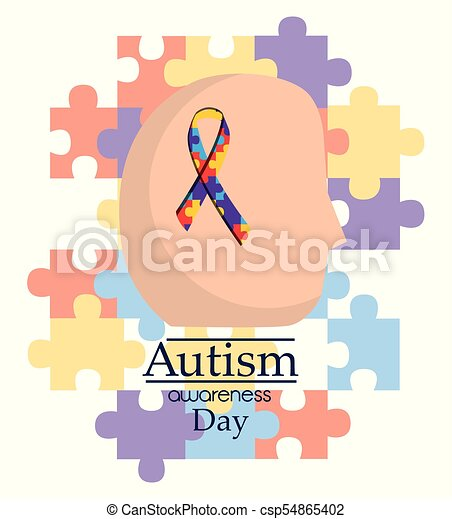 autism awareness day human head with ribbon support medical - csp54865402