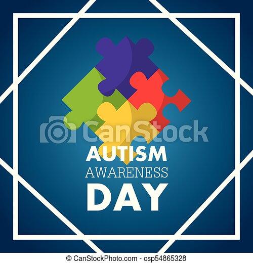 autism awareness day invitation card puzzle pieces - csp54865328