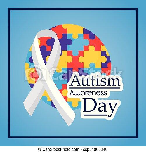 autism awareness day ribbon medical help event - csp54865340