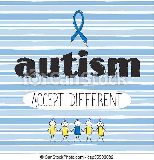 Autism awareness lettering - csp35503082