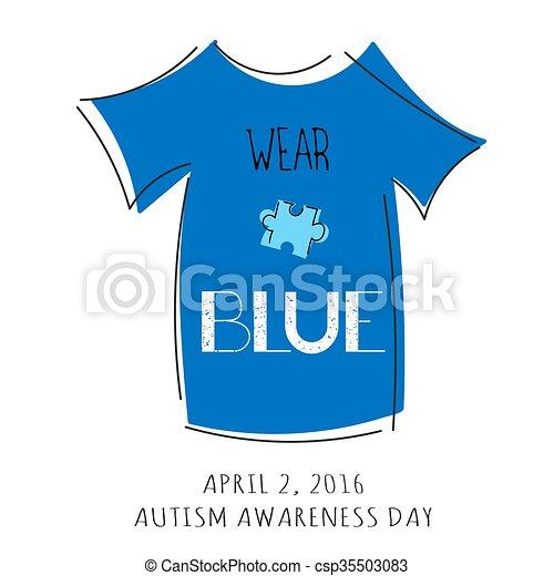 Autism awareness lettering - csp35503083